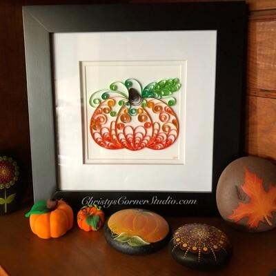 Quilled Pumpkins Framed Artwork