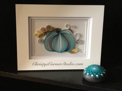 Quilled Blue Pumpkin Framed Artwork