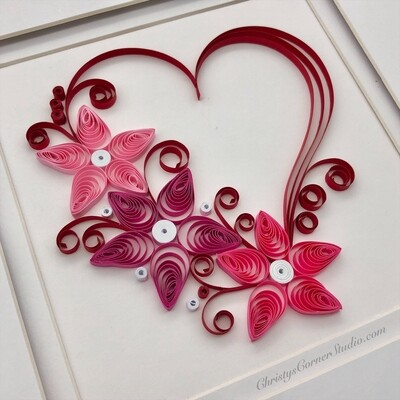 Quilled Valentine Heart Framed Artwork