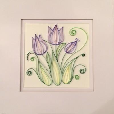 Quilled Spring Purple Tulips Framed Artwork