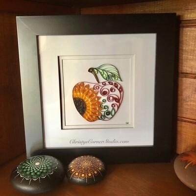 Quilled  Autumn Apple Sunflower Framed Artwork