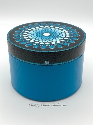 Hand Painted, Turquoise, Wooden, Jewelry Storage Box
