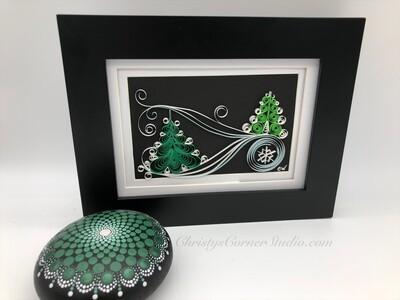 Quilled Christmas Tree  Framed Artwork