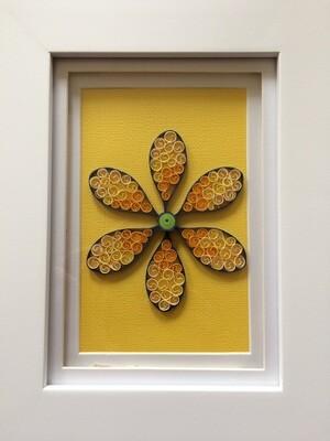 Quilled Yellow Flower  Framed Artwork