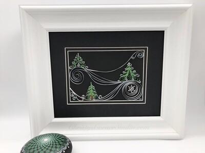 Quilled Pine Trees Framed Artwork