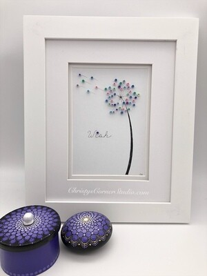Quilled Dandelion  Framed Artwork
