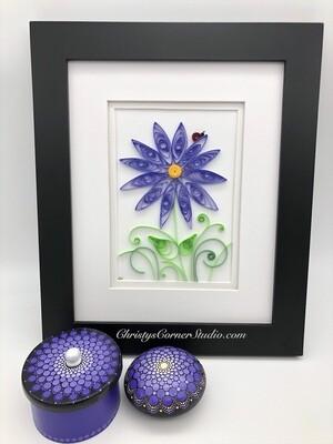 Quilled Purple Flower Framed Artwork