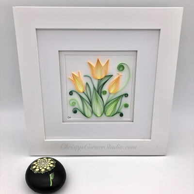 Quilled Yellow Tulips Framed Artwork