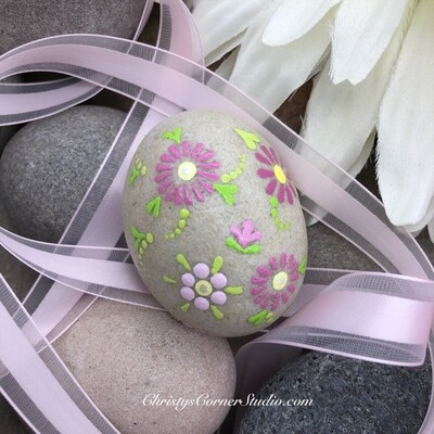 Hand Painted Pink Flower Easter Egg Rock