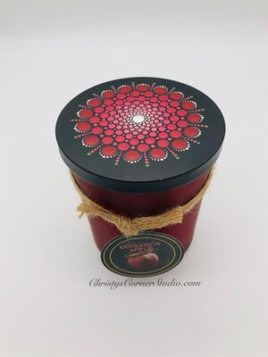 Red Jar Candle with Mandala Lid
