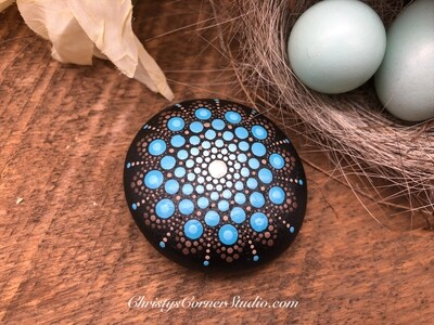Blue and Brown Hand Painted Mandala Stone
