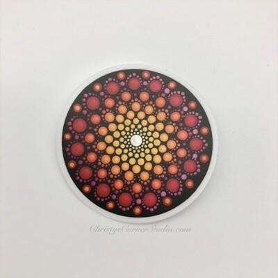 Orange and Pink Mandala Vinyl Sticker
