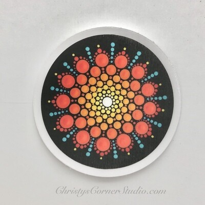 Orange and Turquoise Mandala Vinyl Sticker