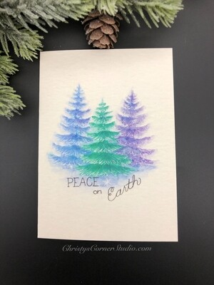 Pine Trees Christmas Note Card