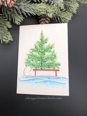 Christmas Tree on Sleigh Note Card