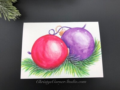 Red and Purple Christmas Ornaments Note Card