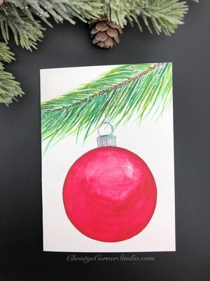 Red Christmas Ornaments Note Card