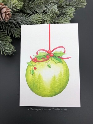 Green Christmas Ornament Note Card
