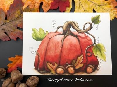 Pumpkin and Acorns Note Card