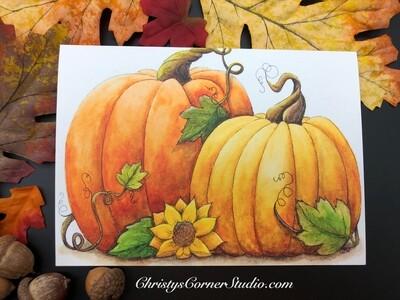 Pumpkin and Sunflower Note Card