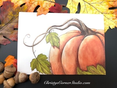 Pumpkin and Vines Note Card
