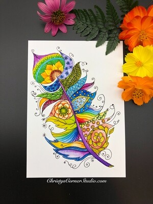Fancy Watercolor Feather Print