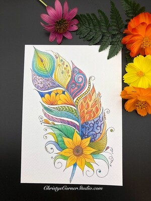 Sunflower Watercolor Feather Print