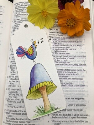 Bird and Mushroom Bookmark