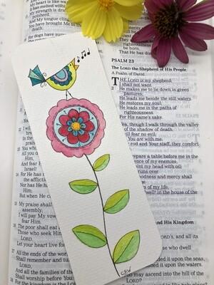 Big flower and Bird Bookmark
