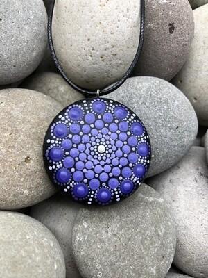 Purple Mandala Wooden Pendant Necklace
