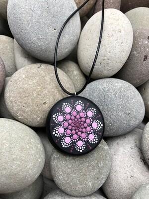 Pink Mandala Wooden Pendant Necklace