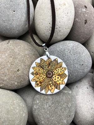 Sunflower Zentangle Wooden Pendant Necklace