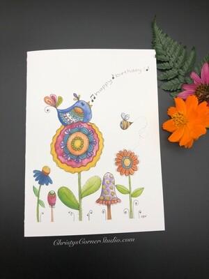 Happy Birthday Blue Bird Card