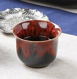 241018 Пиала красная,  50 мл., керамика