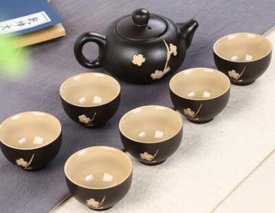 "242067 Сервиз ""Черная сакура"",  1 чайник объем 120мл, 6 пиал объем 30мл, фарфор"