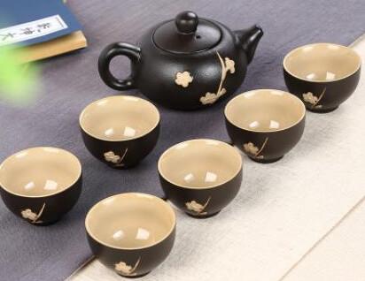 "242067 Сервиз ""Черная сакура"", фарфор. 1 чайник объем 120мл, 6 пиал объем 30мл"