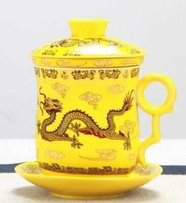 "242021 Кружка ""Дракон Сине-желтый"", фарфор"