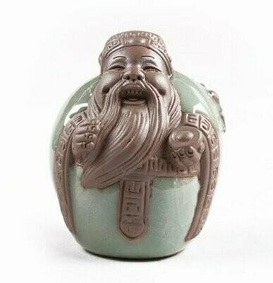 """243013 Фигурка СЕЛАДОН+глина.""""Фусин (талисман богатства)"""", глина, глазурь. 6,5 см х 7,5 см"""
