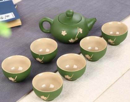 """242066 Сервиз """"Зеленая сакура"""", фарфор. 1 чайник объем 120мл, 6 пиал объем 30мл"""