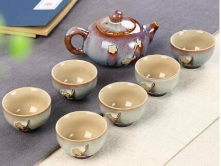 """242068 Сервиз """"Голубая сакура"""", фарфор. 1 чайник объем 120мл, 6 пиал объем 30мл"""