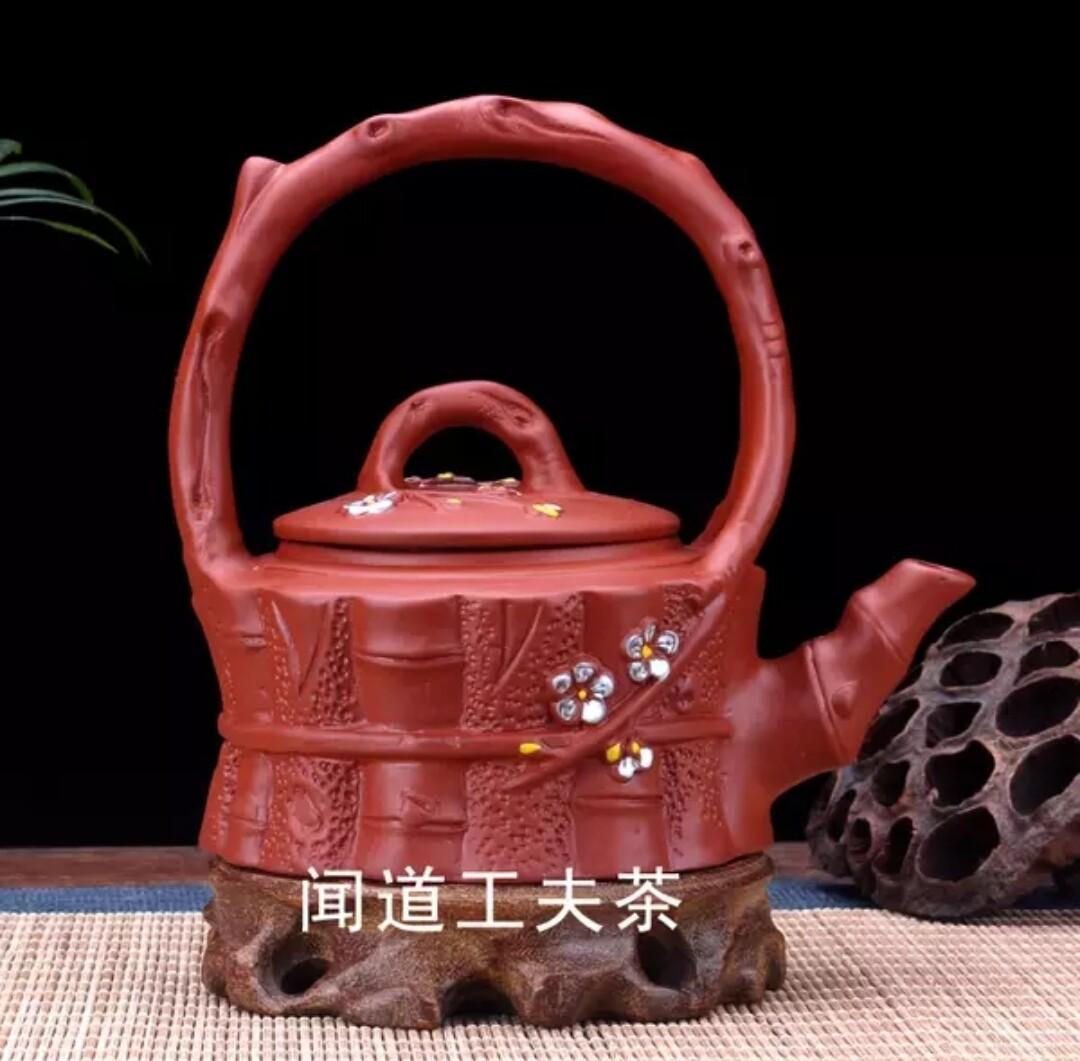"""252007 Чайник """"Сакура и бамбук"""" 270мл, высота 14, диаметр 10, глина. Цвет - красный"""