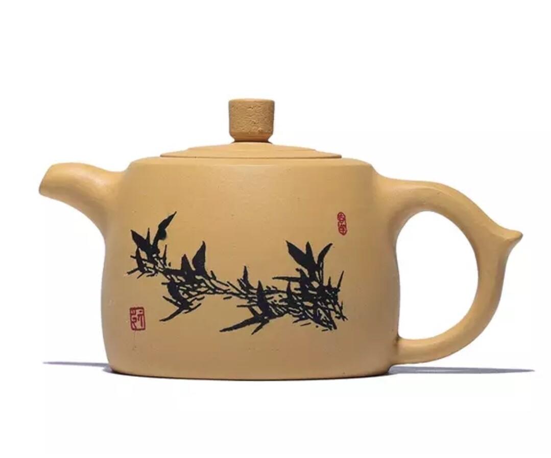 "250035 Чайник ""Заросли бамбука"" 250мл, глина. Цвет - желтый"