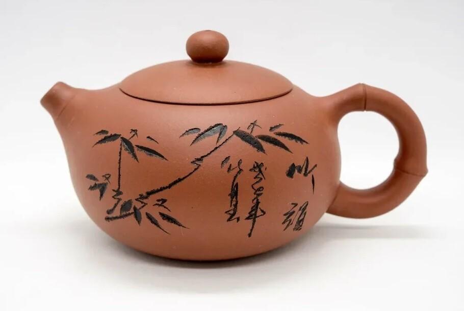 """258002 Чайник ИСИН """"Бамбук СиШи"""", исинская глина, 200 мл, цвет - красный"""