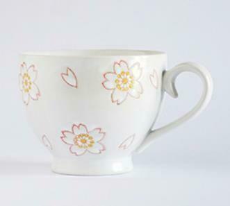 """263016 Чашка XL 0,4л """"Багряный ободок"""", японская роспись, керамика, высота 8 см, диаметр 10,5 см"""