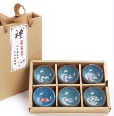 """265004g набор пиал """"Колотый Лёд"""" в подарочн кор,6 шт, голубой, d=6,5cm, h=3cm, 40 мл, рис """"Рыбка 3Д"""""""