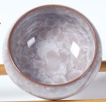 """265007b Пиала """"Колотый лед"""" бежевая без рыбок, глина"""
