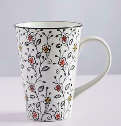 """263020 Чашка XXL 0,5л """"Цветы и травы"""", японская роспись, керамика, высота 13см, диаметр 10см"""