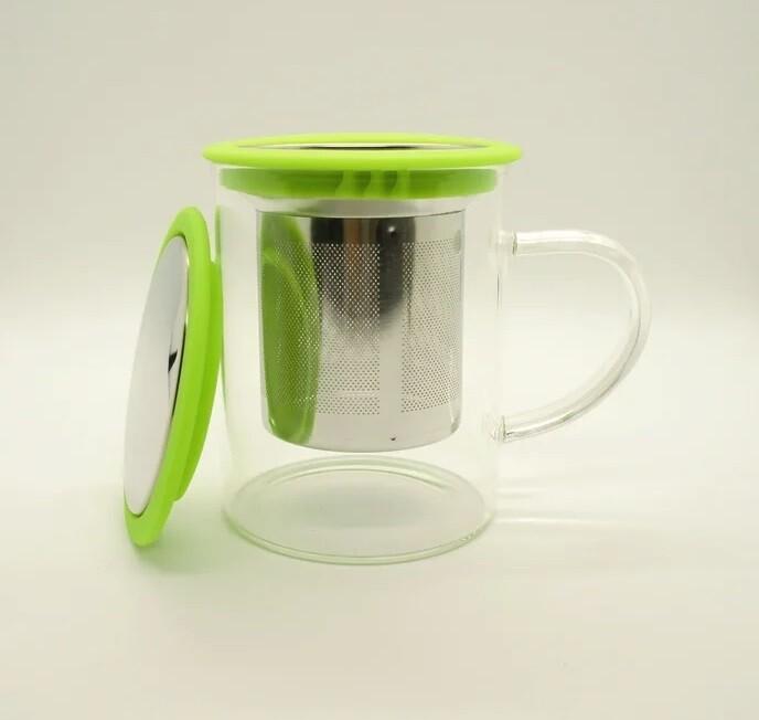256019 Кружка с металлическим ситом и крышкой, 350 мл, цвет - зеленый, стекло, d=8 см, h=9,5см.