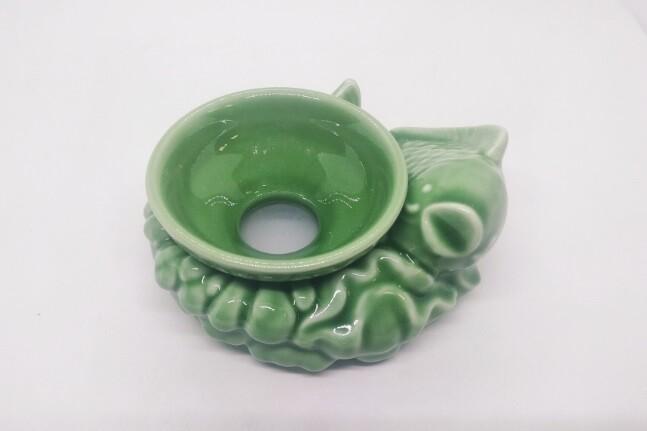 """268012 Сито """"Рыба"""" диаметр 8см, высота 6 см, длина 12 см, керамика, зеленый"""