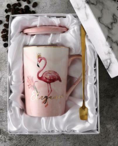 """249025 Кружка ФЛАМИНГО """"Elegance"""" крышка+ложка, под.кор., h=12,3см, d=8см, 380мл, керамика розовый"""